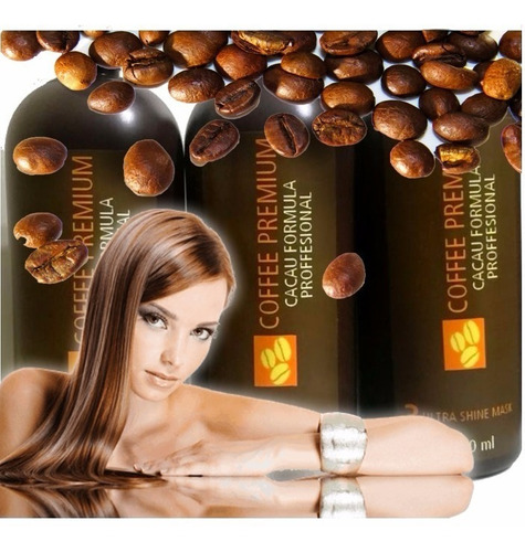 keratina kit  3 pasos alisante brazilian coffee  café 500 ml