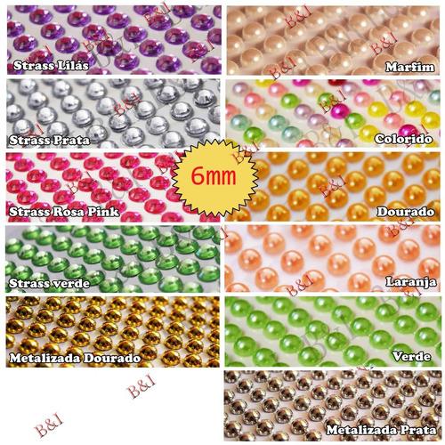ki 4 cartelas meia pérola ou strass  adesiva  3,4,5,6,8,10mm