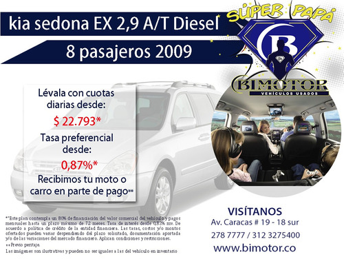 kia sedona automática 8 pasajeros 2009 financiación