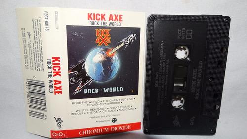 kick axe - rock the world (carcasa:ex - inserto:ex)
