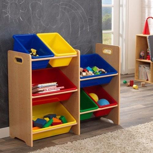 kidkraft juguetero estanteria con cubos para juguetes