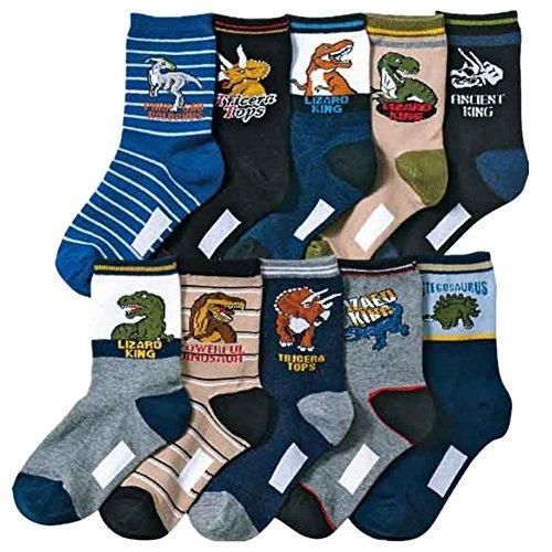 kids boy's fashion cartoon dinosaurs pattern sport socks 10