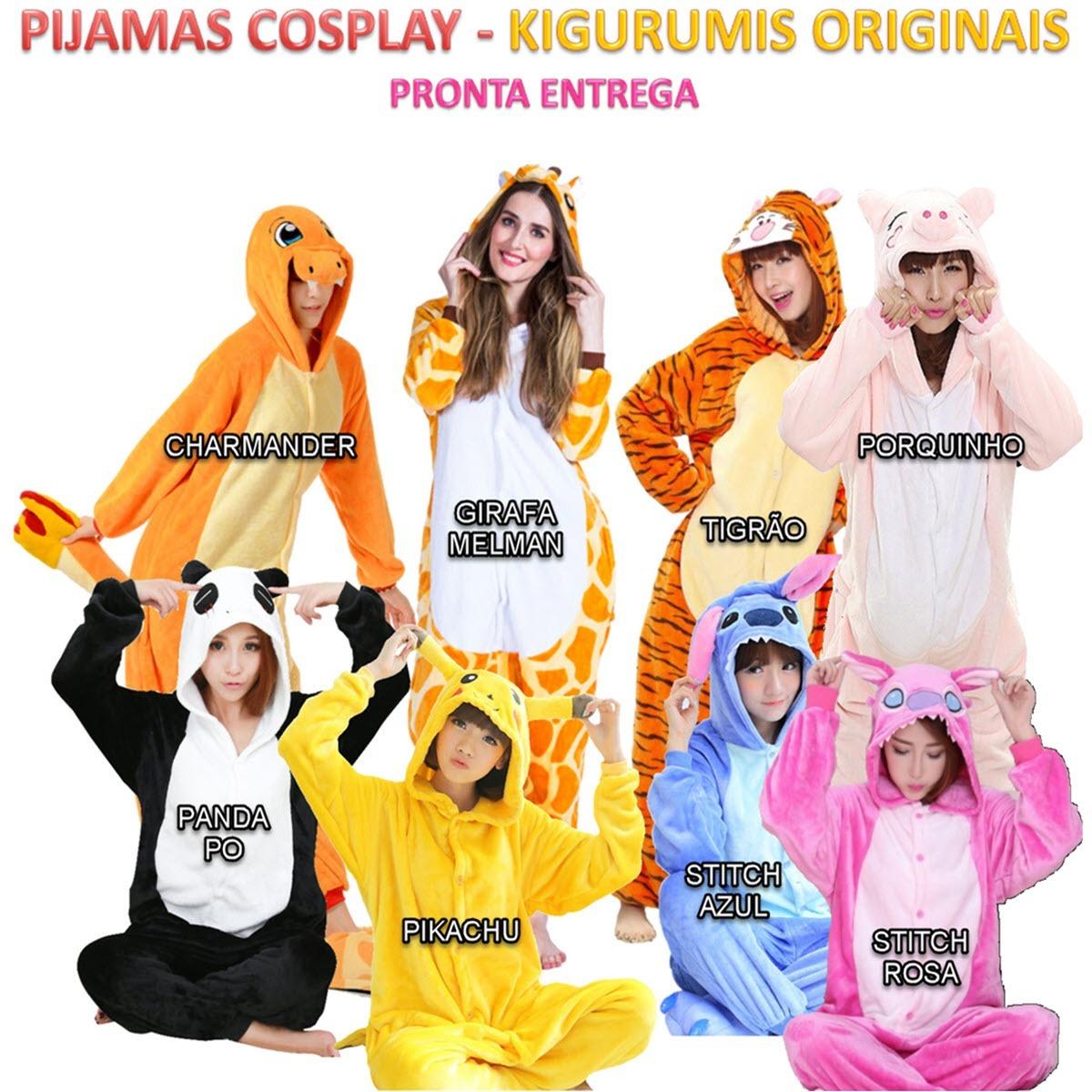 4798daa2ef3e36 Kigurumi Pijama Macacão Stitch Panda Pokemon Unissex Brasil