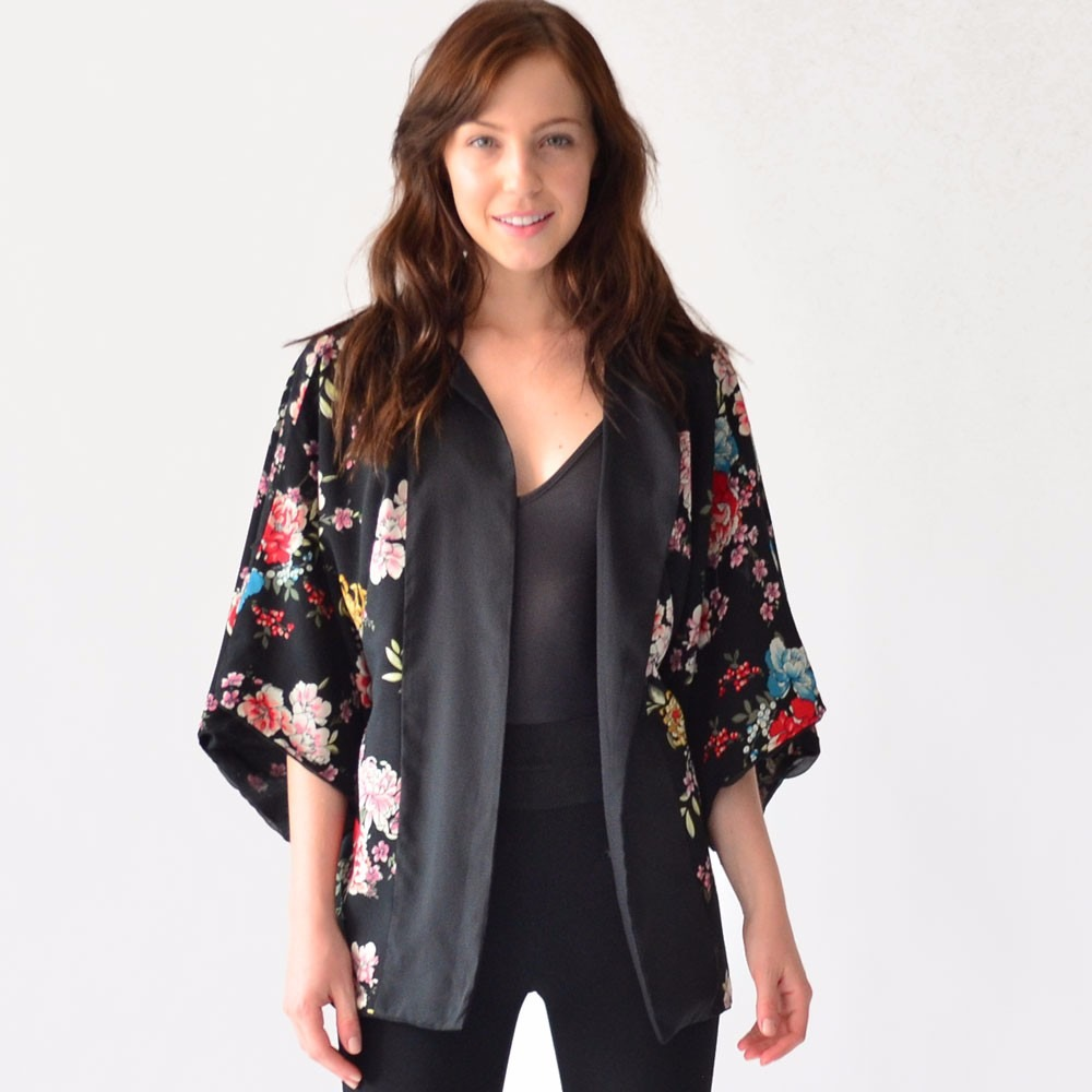 diseño distintivo zapatillas de deporte para baratas super especiales Kimono Blusa Ropa Mujer Rack & Pack Negro Floreado Unitalla