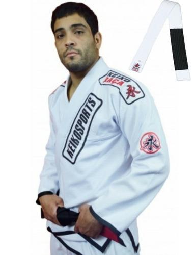 kimono branco trançado + faixa grossa jiu jitsu oficial bjj