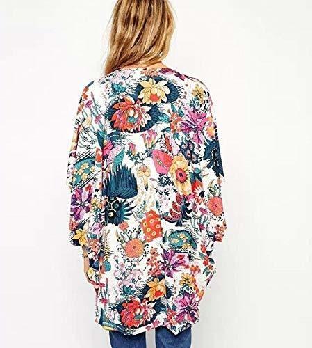 kimono de manga 3/4 para mujer, diseño floral, chal de gas p