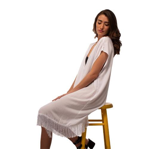 kimono fresco blanco con flecos - amad - envío gratis