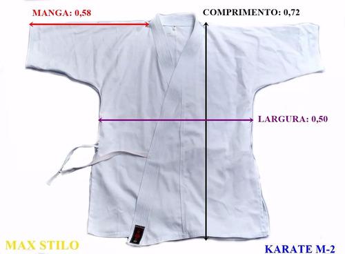 kimono infantil m-2 karate branco brim pesado c faixa branca