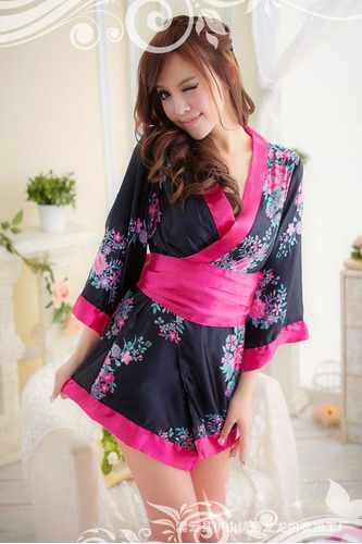 kimono japonés floral pink geisha sexy fancy dre mujer