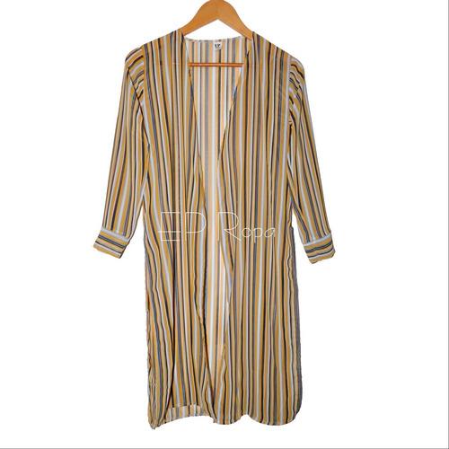 kimono largo con puños y aberturas rayas cardigan seda mujer
