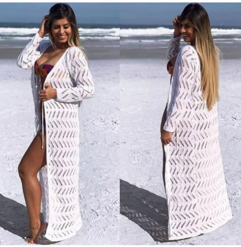 kimono saída de praia longa aberta tricot zigzag