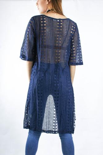 kimono synergy de encaje azul 211b
