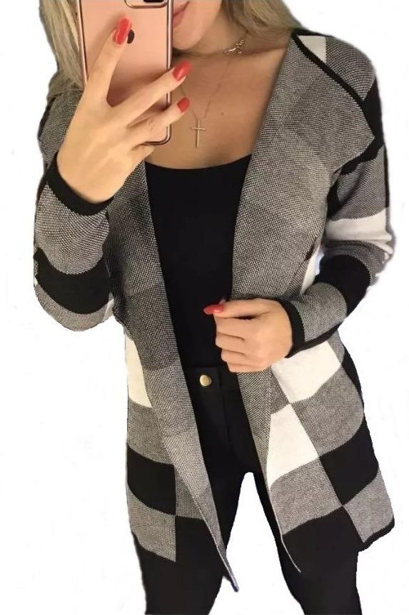 788ceec3f kimono xadrez feminino blusa cardigan manga longa tricot pmg. Carregando  zoom.