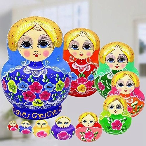 king-light - 10pcs peony multicolor ruso munecas de anidacio