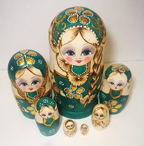 king-light 7pcs green sweater girl russian nesting munecas m