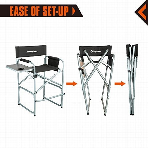kingcamp tall director silla plegable con mesa lateral porta