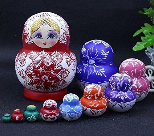kinglight 10pcs red_white flor muñecas anidación rusas matry