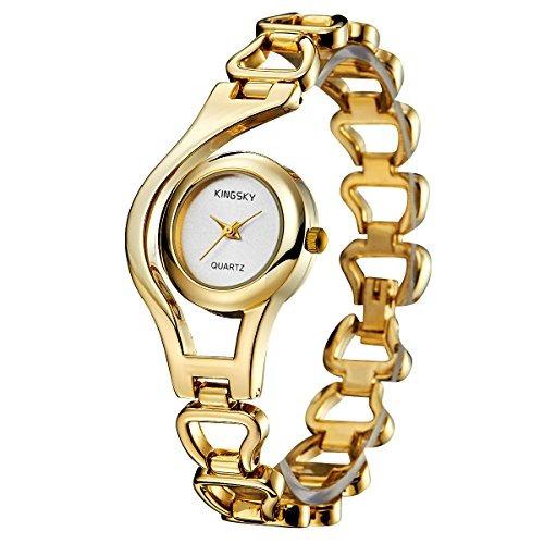 kingsky ladies fashion small cara oro banda relojes analógic