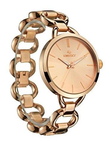 Pulsera Oro Kingsky Rose Relojes Azul Dial Banda Mujer 53j4AqScLR
