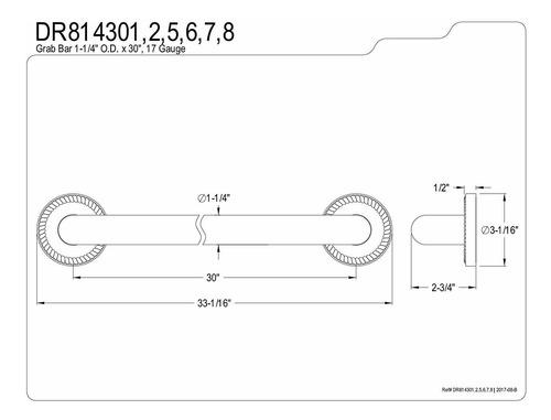kingston brass laurel decor 30-inch grab bar con 1.25-inc