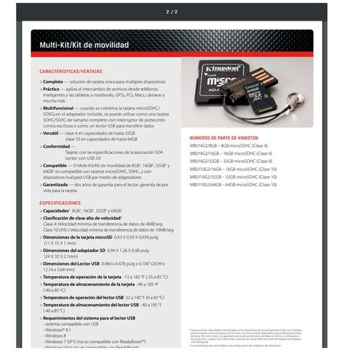 kingston kit lector usb 2.0 microsd mbly4g2/16gb