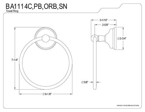 kingston latón ba1114c victoriano 6-inch toalla anillo , cr