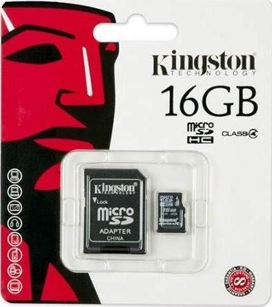 kingston memoria 16gb micro sd clase 4 con adaptador sd n/p: