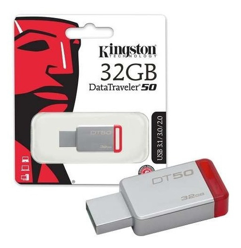 kingston memoria usb dt50 32 gb rojo