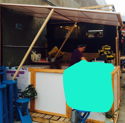 kiosko o modulo en pino para ventas, con techo usaquen