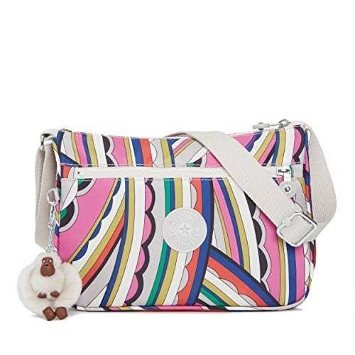 kipling mini bandolera callie estampada, brillo