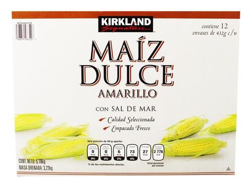 kirkland granos de elote maíz amarillo 12 latas de 432g c/u