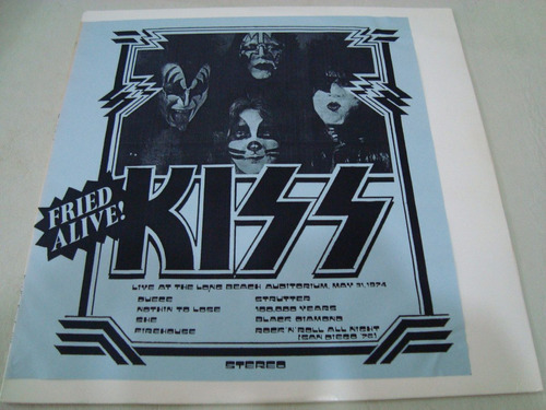 kiss  fried alive   live 1974   lp   vinilo bootleg