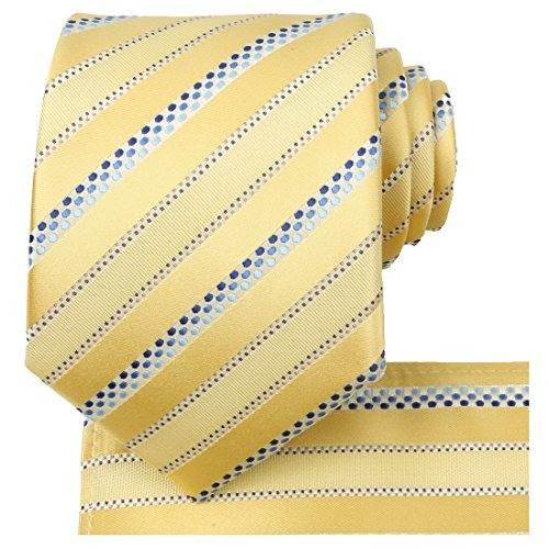 kissties amarillo verano tie set rayas satin necktie + pocke