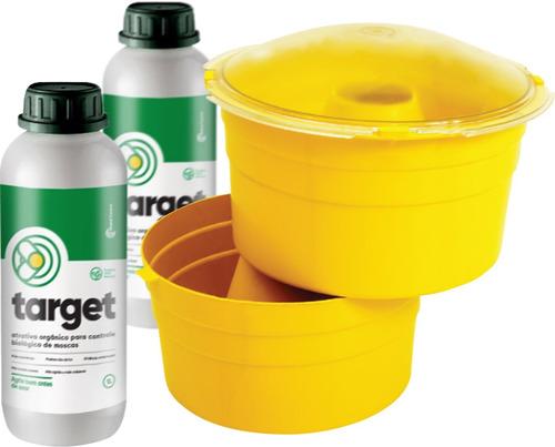 kit 01 armadilha para moscas + 3 litros de atrativo original