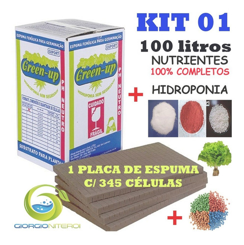 kit 01 espuma fenólica + nutrientes + peletizadas hidroponia