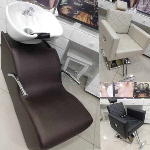 kit 01 lavatório cabeleireiro + 02 cadeiras - lumi móveis