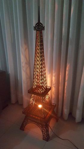 kit, 01 luminária torre eiffel mdf 1,25mt altura + 02 30cm