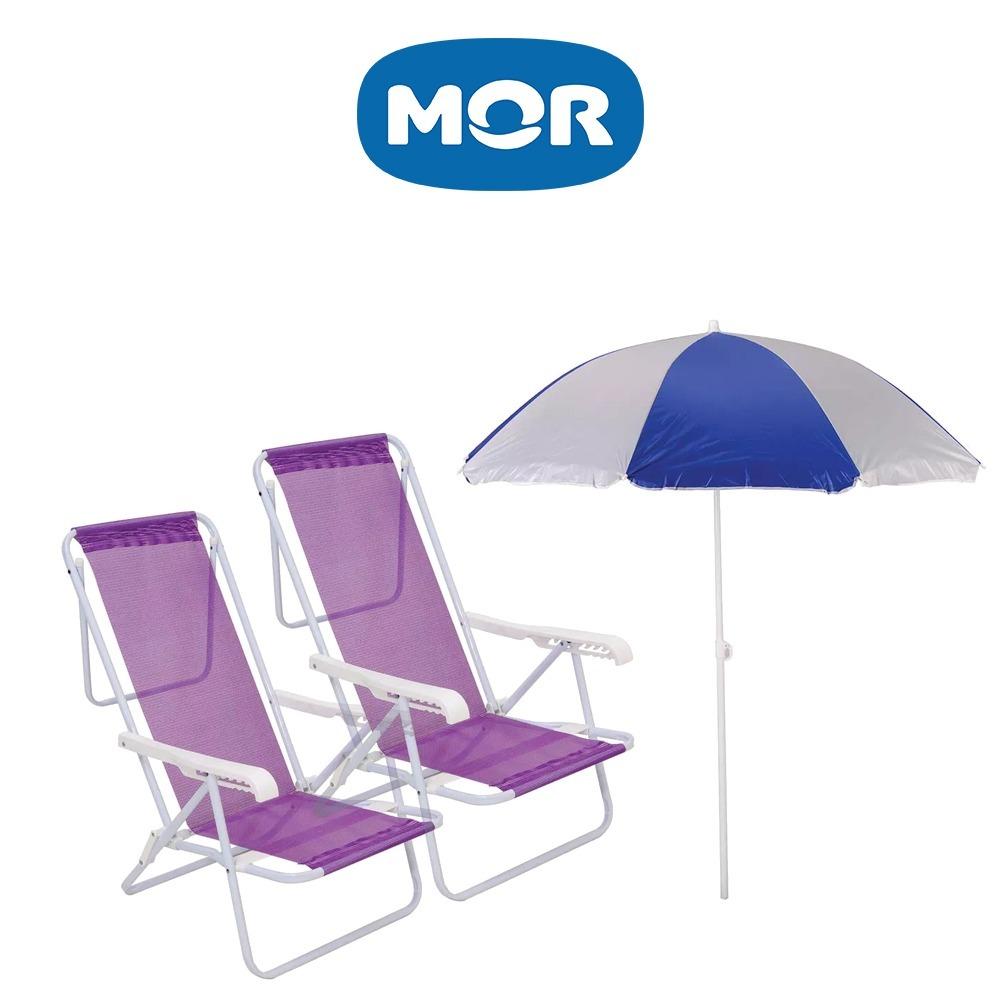 Kit 02 Cadeira Praia Reclinável Aço 8 Posições + Guarda Sol - R  244 ... 67a56978b7