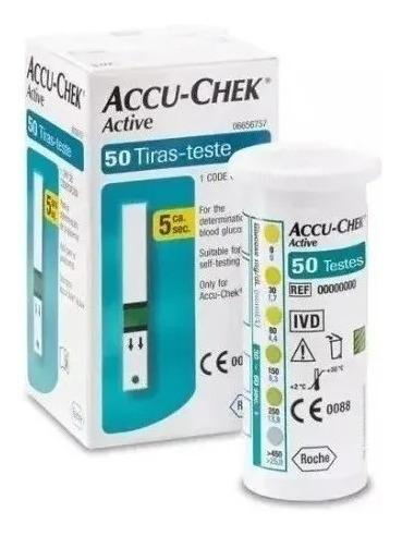 kit 02 caixas tiras reagentes accuchek active c/50 unidades
