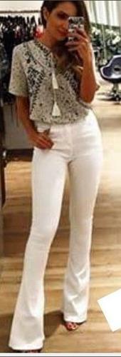 kit 02 calça flare jeans cintura alta hot pant feminina girl