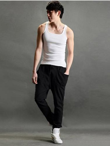 kit 02 calças moletinho moletom saruel skinny masculina