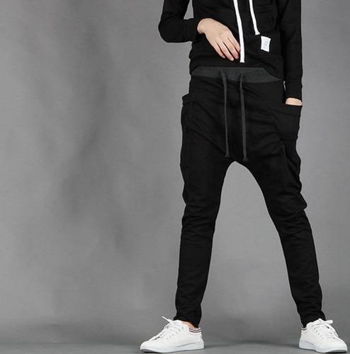 kit 02 calças moleton masculina skinny slim swag sport luxo