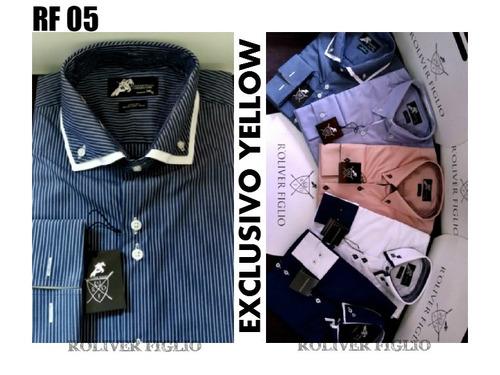 kit 02 camisas social roliver figlio 100% algodão promoção