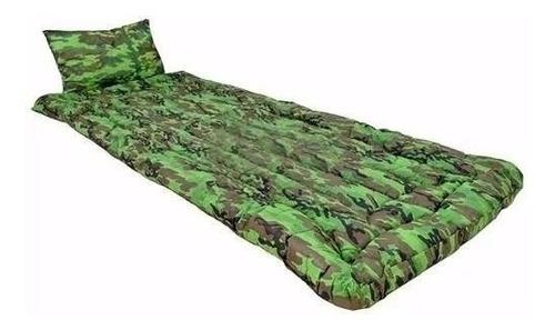 kit 02 colchonete acampamento travesseiro solteiro