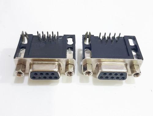 kit 02 conector db9 fêmea 90 graus solda placa
