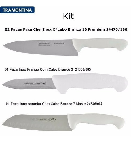 kit 02 facas 24476180 + faca 24600083 + faca 24646087 tramon