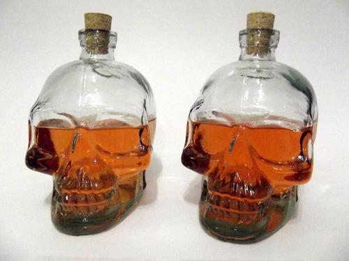 kit 02 garrafas de vidro caveira 750 ml skull top !
