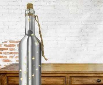 kit 02 luminária led decorativa garrafa prata - taschibra