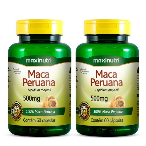 kit 02 maca peruana 100% pura 500mg maxinutri - 60 cápsulas