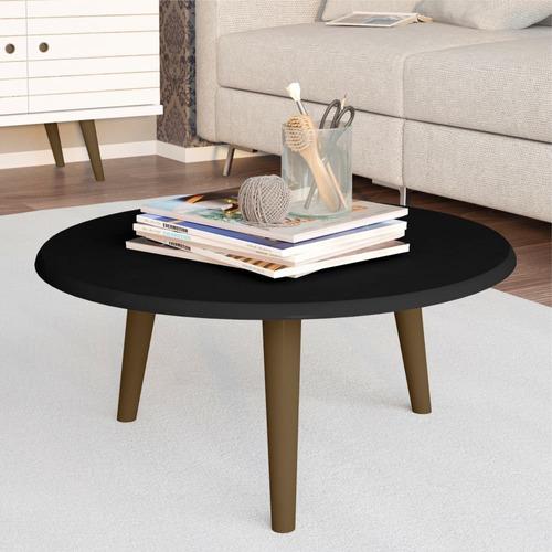 kit 02 mesas de centro decorativo preto fosco lymdecor